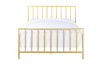 Brushed Gold Queen Metal Bed