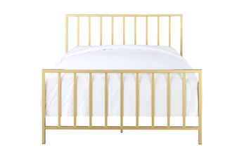 Brushed Gold Queen Metal Bed