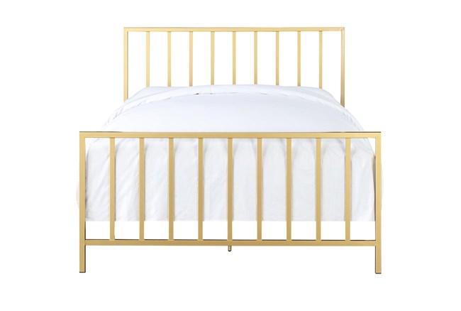 Brushed Gold Queen Metal Bed - 360