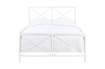 White X-Frame Queen Metal Bed