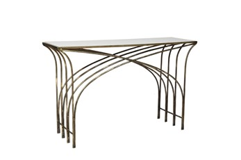 "Gold And White Marble 48"" Console Table"