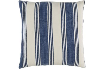 Accent Pillow-Navy And Cream Stripe 18X18