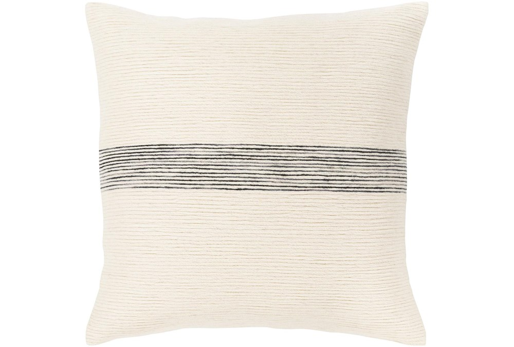 Accent Pillow-Ivory With Black Stripe 18X18
