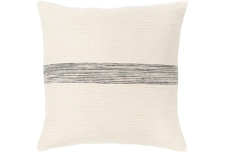 Accent Pillow-Ivory With Black Stripe 18X18 - Main