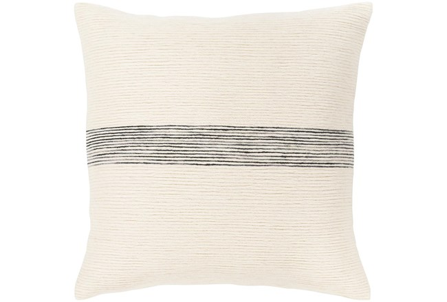 Accent Pillow-Ivory With Black Stripe 18X18 - 360
