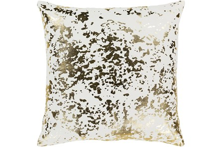 Accent Pillow-White Metallic Gold Specs 18X18 - Main