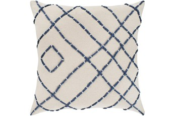 Accent Pillow-Cream With Navy Hand Embroidered 18X18