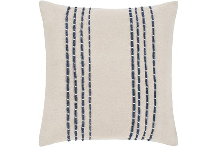 Accent Pillow-Cream With Navy Hand Embroidered 20X20 - Main
