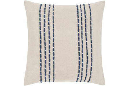 Accent Pillow-Cream With Navy Hand Embroidered 22X22 - Main