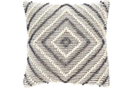 Accent Pillow-Cream And Grey Diamond 22X22 - Main