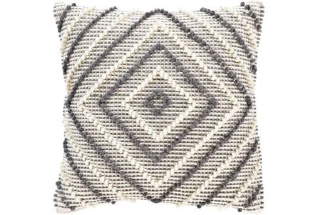 Accent Pillow-Cream And Grey Diamond 22X22 - Main