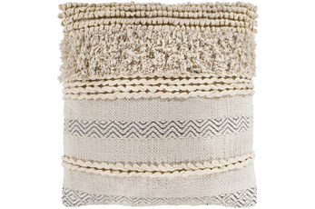 Accent Pillow-Beige Textured Stripes 18X18