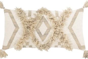 Accent Pillow-Khaki Textured Diamond Tassels 12X30