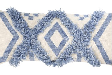 Accent Pillow-Denim Textured Diamond Tassels 10X18