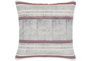 Accent Pillow-Ivory And Navy Multicolor Stripe 20X20