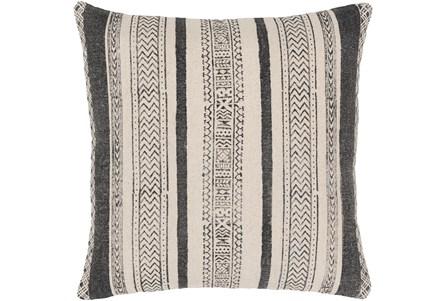 Accent Pillow-Black And Cream Stripe 20X20 - Main