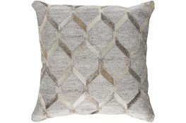 Accent Pillow-Grey And Cream Hair On Hide 18X18