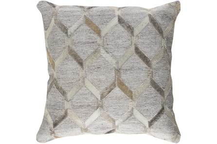 Accent Pillow-Grey And Cream Hair On Hide 18X18 - Main