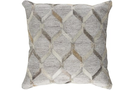 Accent Pillow-Grey And Cream Hair On Hide 20X20 - Main