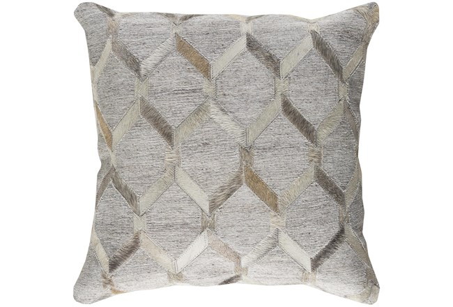 Accent Pillow-Grey And Cream Hair On Hide 20X20 - 360