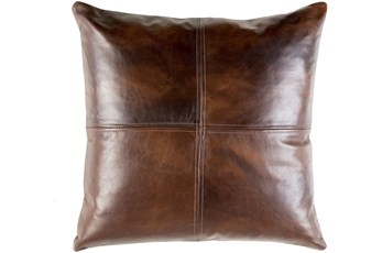 Accent Pillow-Dark Brown Leather 20X20
