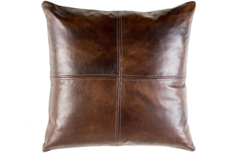 Accent Pillow-Dark Brown Leather 20X20 - Main