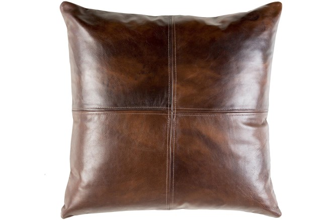 Accent Pillow-Dark Brown Leather 20X20 - 360