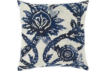 Accent Pillow-Blue And Cream Floral 18X18