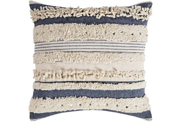 Accent Pillow-Navy Textured Stripes With Sequins 18X18