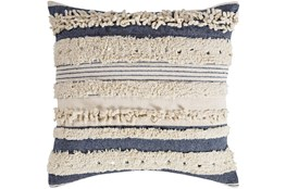 Accent Pillow-Navy Textured Stripes With Sequins 20X20
