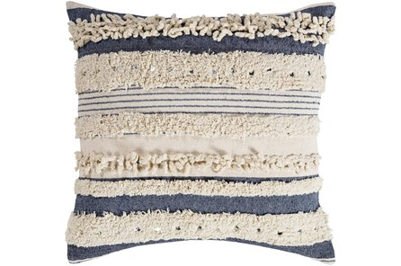 Accent Pillow-Navy Textured Stripes With Sequins 20X20 - Main