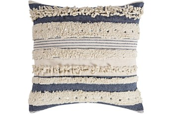 Accent Pillow-Navy Textured Stripes With Sequins 22X22