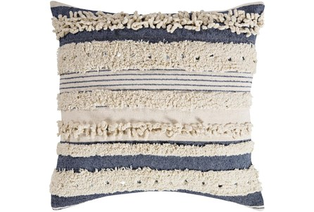 Accent Pillow-Navy Textured Stripes With Sequins 22X22 - Main