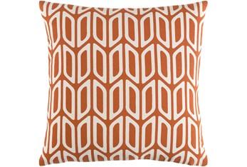 Accent Pillow-Burnt Orange And Cream Geometric 18X18