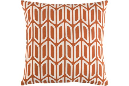 Accent Pillow-Burnt Orange And Cream Geometric 18X18 - Main