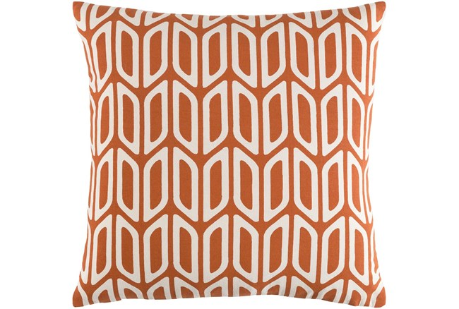 Accent Pillow-Burnt Orange And Cream Geometric 18X18 - 360