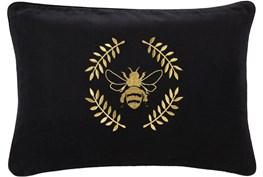 Accent Pillow-Black Velvet Gold Bee 13X20