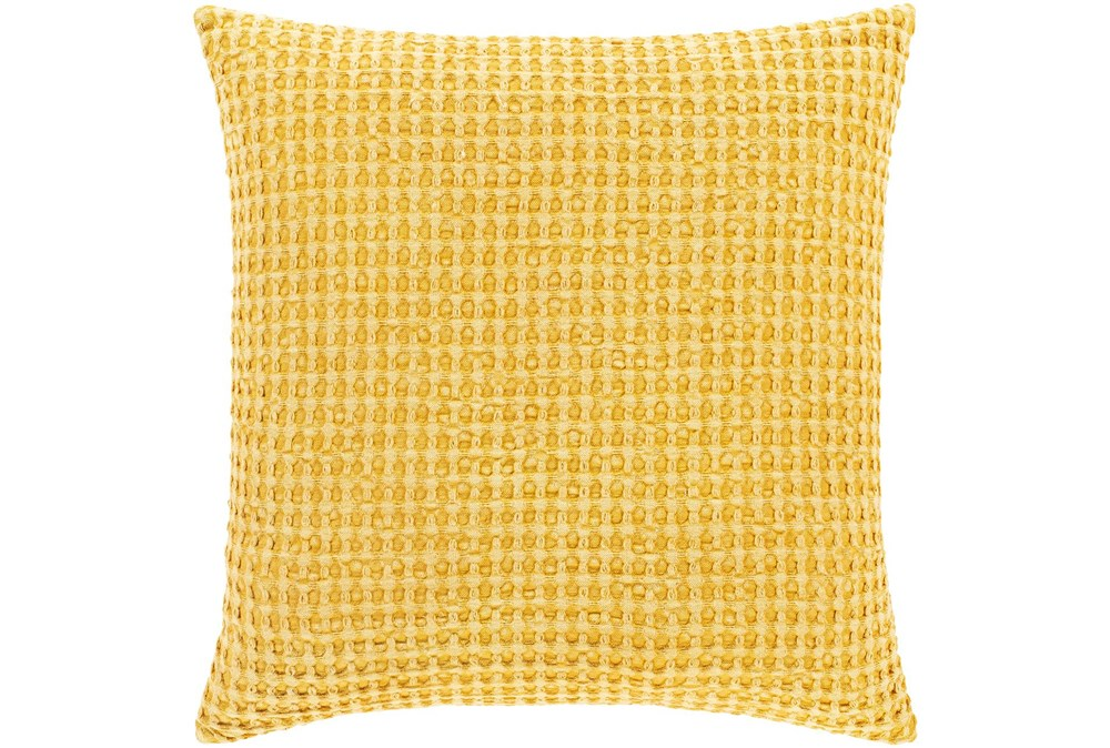 Accent Pillow-Bright Yellow Waffle Print 18X18