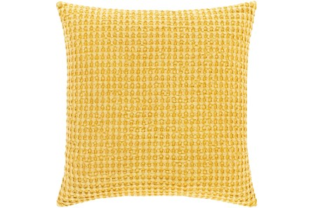 Accent Pillow-Bright Yellow Waffle Print 18X18 - Main