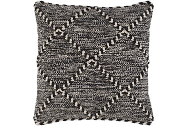 Accent Pillow-Black And White With Braided Rope Detail 1818