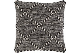 Accent Pillow-Black And White With Braided Rope Detail 22X22