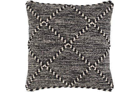 Accent Pillow-Black And White With Braided Rope Detail 22X22 - Main