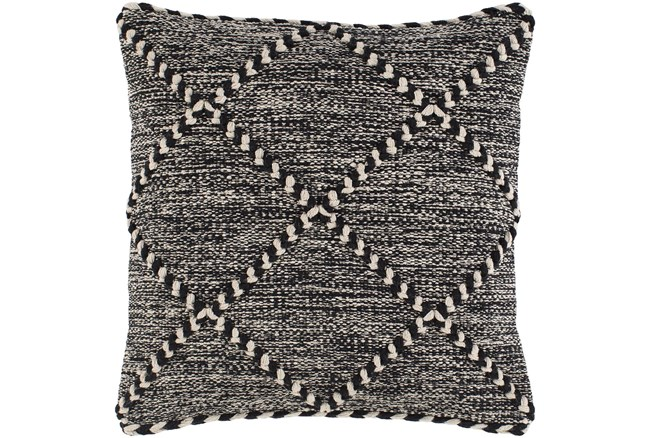Accent Pillow-Black And White With Braided Rope Detail 22X22 - 360