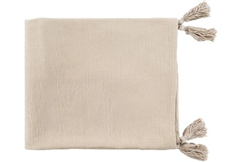 Accent Throw-Khaki With Corner Tassels
