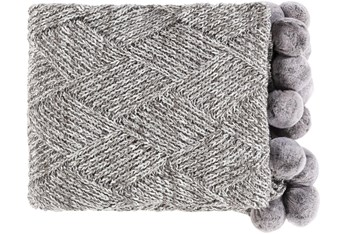 Accent Throw-Knitted Grey With Pom Poms