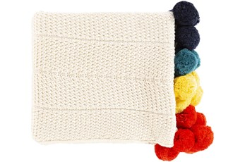 Accent Throw-Cream Multicolor Pom Poms