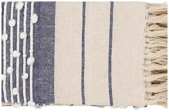 Accent Throw-Navy Plaid Fringe