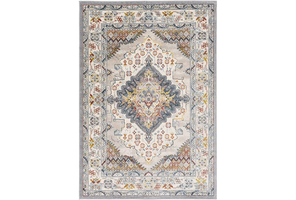 """7'9"""" Round Rug-Traditional Multicolor"""