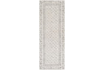 """2'6""""x7'3"""" Rug-Global Low/High Grey And Beige"""
