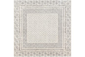 """6'5""""x6'5"""" Square Rug-Global Low/High Grey And Beige"""
